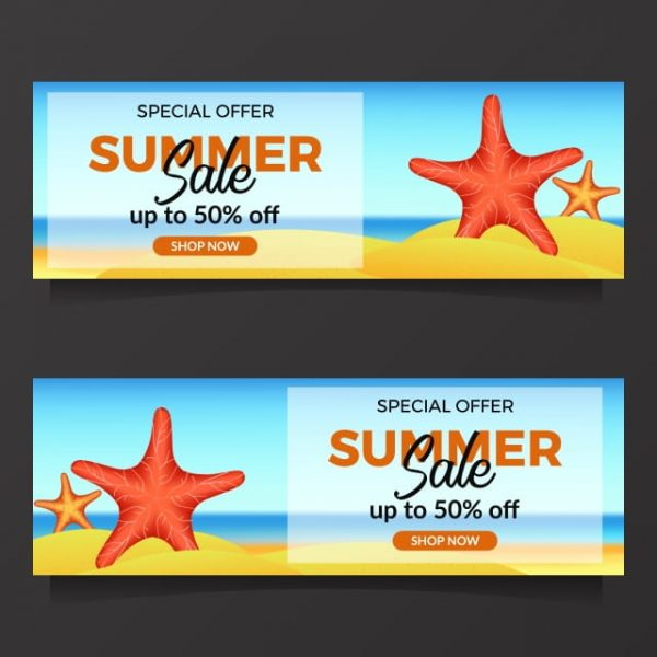 Summer Holiday Sale Offer With Illustration Of Starfish (Turbo Premium Space)