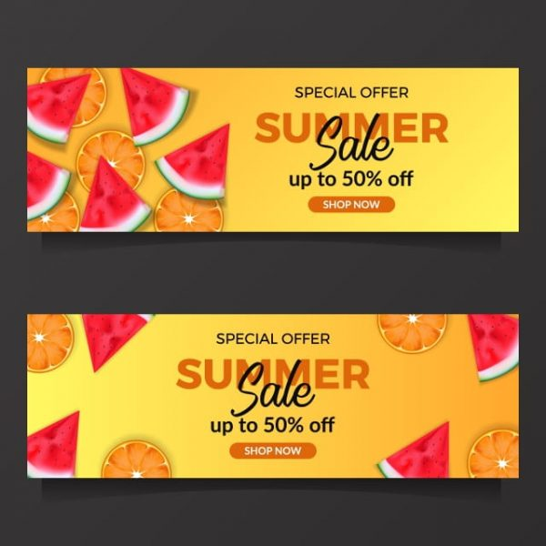 Summer Holiday Sale Offer With Illustration Of Tropical Fruit From View (Turbo Premium Space)