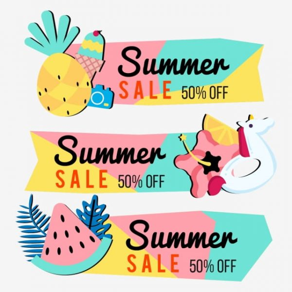 Summer Sale Banner Background Layout Vector Illustration Template (Turbo Premium Space)