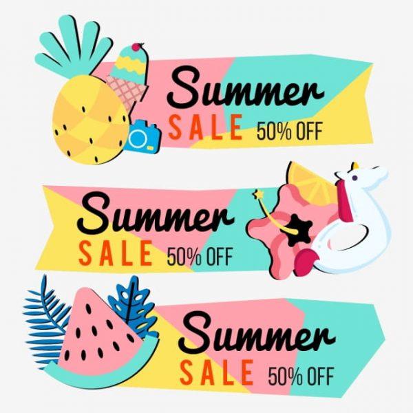 Summer Sale Banner Background Layout Vector Illustration Template