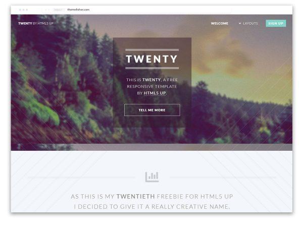 Twenty HTML5 Parallax Template