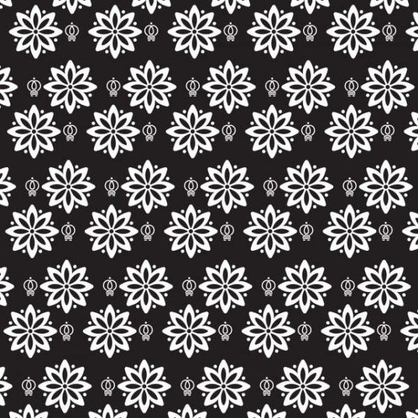 Vintage Floral Pattern Background Black