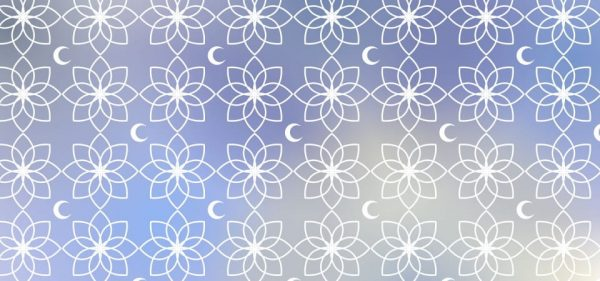 Wallpaper Pattern Gradient Blue With Moon And Islamic Ornament