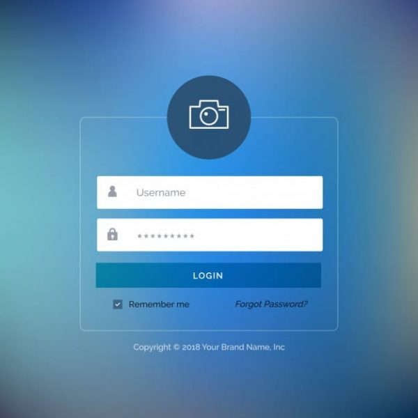 Web login template with blue