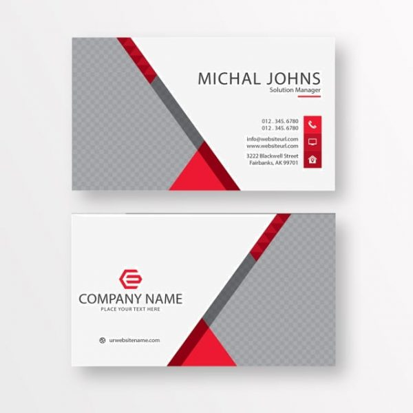 White Business Card With Red Details (Turbo Premium Space)