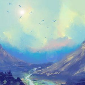 Blue Sky White Forest Mountain Peak Illustration