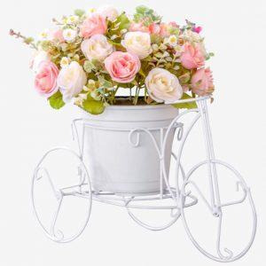 Bouquet On A Flower Pot On Modern White Bike Design