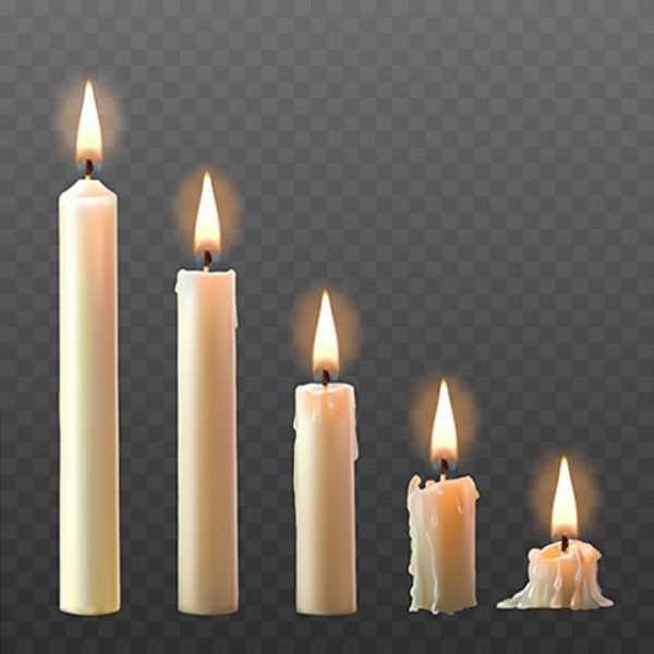 Vector Set Of Realistic White Burning Candles Isolated On A Tran