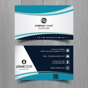 Modern-business-card-with-turquoise-wavy-shapes