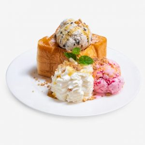Bread Honey Toast By Almond Slice With Whipping Cream And Ice Cream High Calorie Food