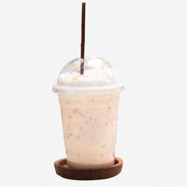 Iced Milk Tea With Honey In Plastic Glass Beverage Summer Cool Drinks (Turbo Premium Space)