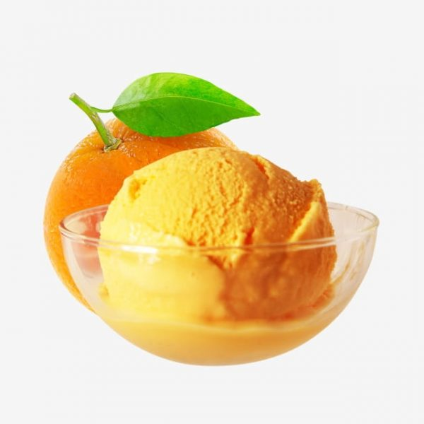Orange Mango Ice Cream Scoop On Glass Bowl (Turbo Premium Space)