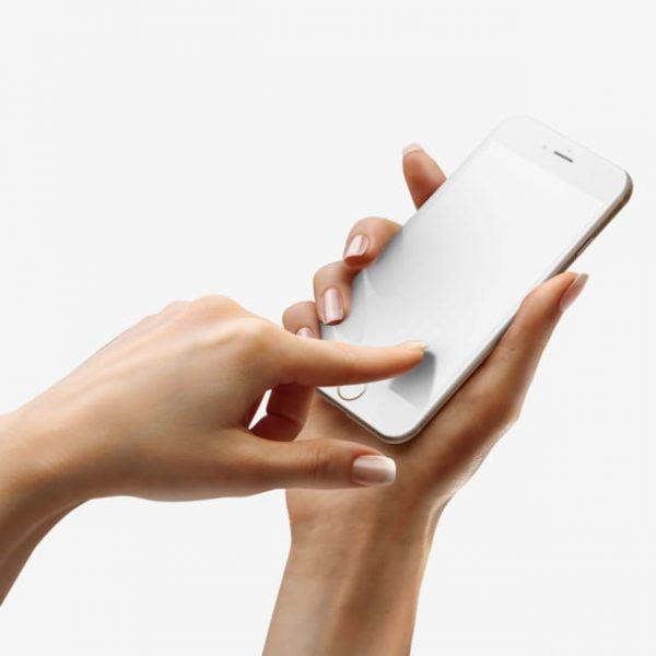 Touching Iphone 8 White Mockup